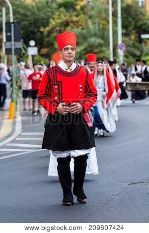 SELARGIUS, ITALY - SEPTEMBER 10, 2017: 57 Edition of the Old Marriage selargino - parade of the folk group Villanova of Cagliari - Sardinia