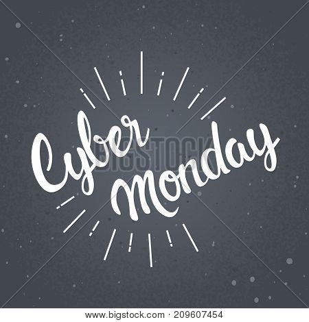 Cyber Monday Sticker Design Online Shopping Sale Poster Vector Illustration