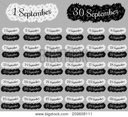 September Date Collection, Ready Inscription Of September Date With All Number