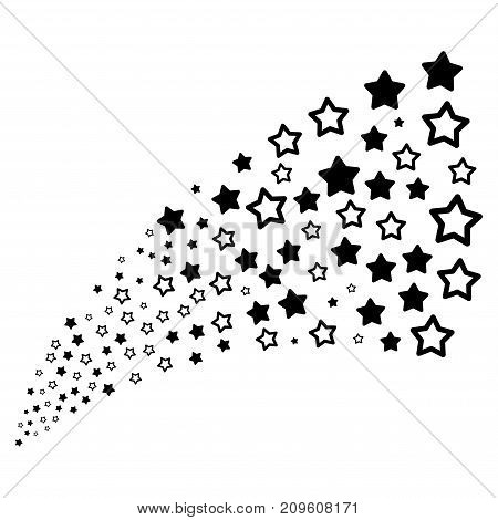 Source stream of decoration stars symbols. Vector illustration style is flat black iconic decoration stars symbols on a white background. Object fountain organized from pictographs.
