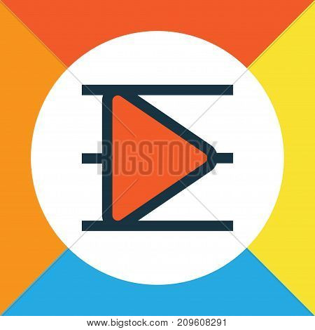 Premium Quality Isolated Song List Element In Trendy Style.  Playlist Colorful Outline Symbol.