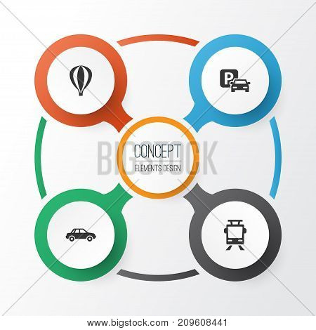 Shipment Icons Set. Collection Of Airship, Automobile, Streetcar And Other Elements