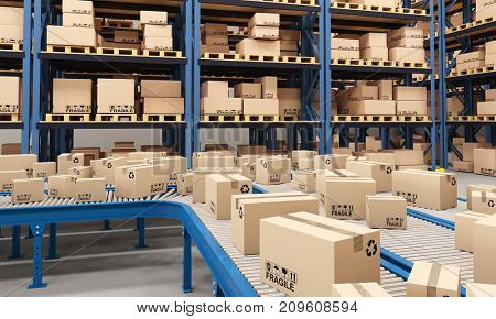 classic conveyor and boxes in warehouse 3d rendering image