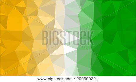 Cote d'Ivoire low poly triangle style flag