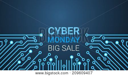Cyber Monday Big Sale Poster Over Circuit Background, Special Discount For Technology Shopping Concept Vector Illustration