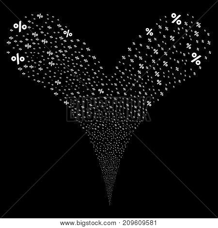 Percent source stream. Vector illustration style is flat white iconic percent symbols on a black background. Object fountain constructed from random design elements.
