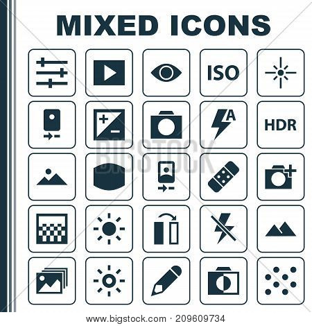 Picture Icons Set. Collection Of Shine, Thunder, Monitor And Other Elements