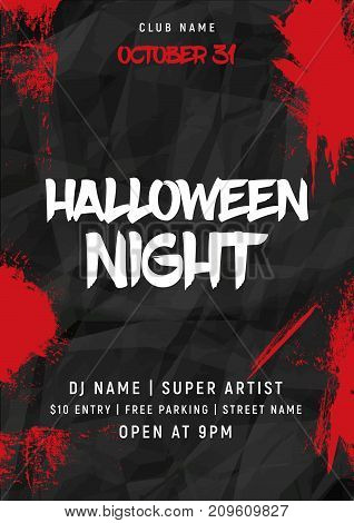 Halloween party poster with bloody splash. Halloween flyer vector lettering banner card design.