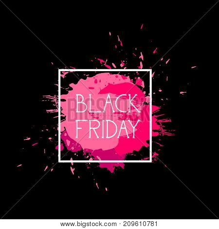 Black Friday Sign Holiday Sale Icon Over Pink Paint Splash, Shopping Discount Label Concept Vector Illustration