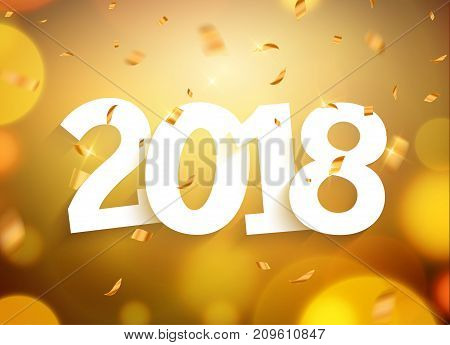 2018 new year greeting card confetti gold number. Holiday christmas decoration 2018. New year banner card design with confetti.