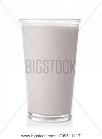 Glass with protein shake on white background