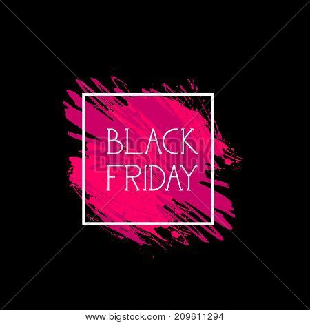 Black Friday Sign Holiday Sale Icon Concept Of Shopping Discount Label Over Pink Paint Splash Concept Vector Illustration