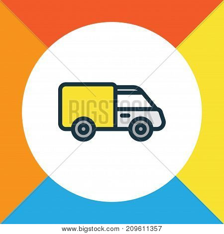 Premium Quality Isolated Truck Element In Trendy Style.  Van Colorful Outline Symbol.