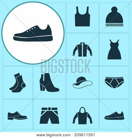 Clothes Icons Set. Collection Of Elegance, Sneakers, Elegant Headgear And Other Elements