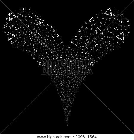 Recycle Triangle fireworks stream. Vector illustration style is flat white iconic recycle triangle symbols on a black background. Object fountain created from random design elements.