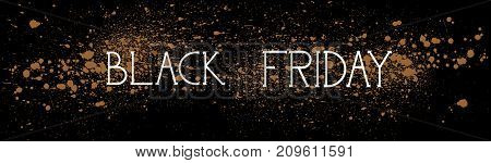 Black Friday Shopping Message Holiday Sale Concept, Price Discount Horizontal Banner Over Grunge Background Vector Illustration