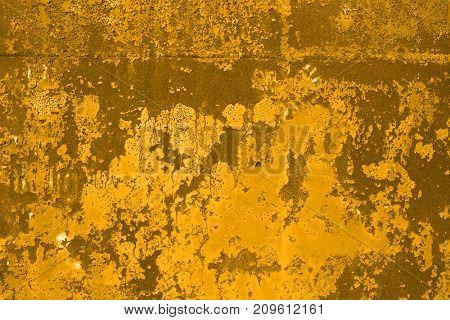 Golden rusty steel textured background.