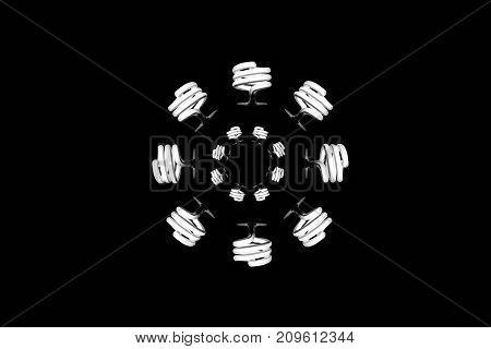 fluorescent light bulb shine spiral energy consumption lamp electricity wallpaper background minimalism decor circle