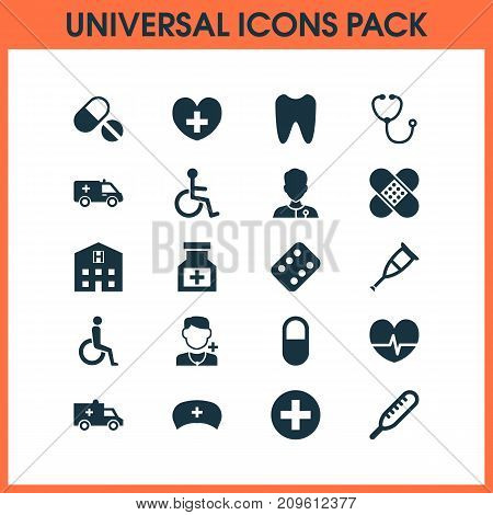 Antibiotic Icons Set. Collection Of Bus, Disabled, Pellet And Other Elements