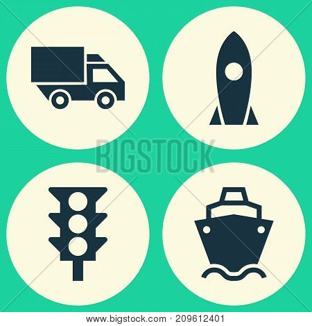 Shipment Icons Set. Collection Of Van, Stoplight, Spaceship And Other Elements