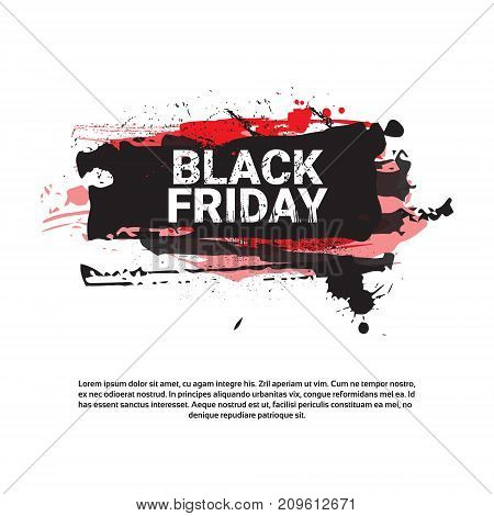 Black Friday Flyer Big Holiday Sale Banner With Copy Space Over Grunge Background, Shopping Price Discount Concept Vector Illustration
