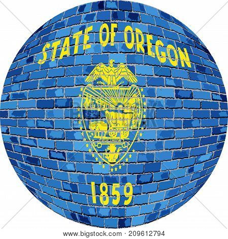 Ball with Oregon flag in brick style - Illustration