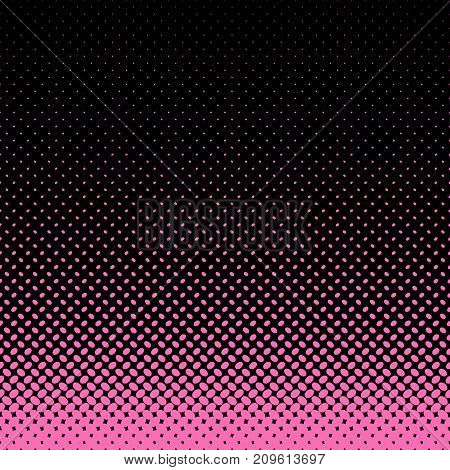 Geometrical halftone ellipse pattern background - vector graphic from pink diagonal elliptical dots on black background