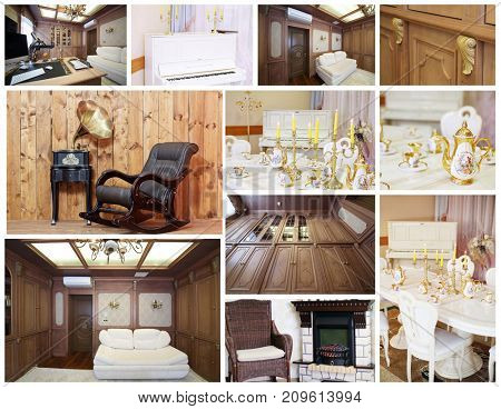 Collage with beautiful stylish interiors - living room, dining room, porcelain