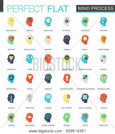 Vector set of flat Brain and Mind process icons isolated