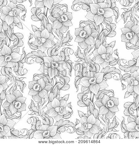 Daffodils Narcissus Dense Outline Sketch Drawing Floral Seamless Pattern. Spring Flowers Black And W
