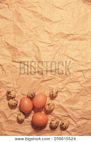 Easter eggs  on crumpled  kraft paper
