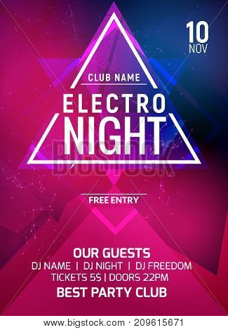 Electro party music night poster template. Electro style concert disco party event invitation.