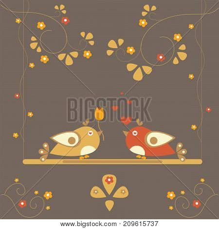 Cute Bird Couple celebrating Valentine's day. Vector Illustration.