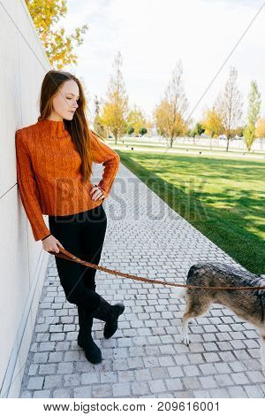 beautiful young red-haired girl walking in the park with her big dog posing against the wall