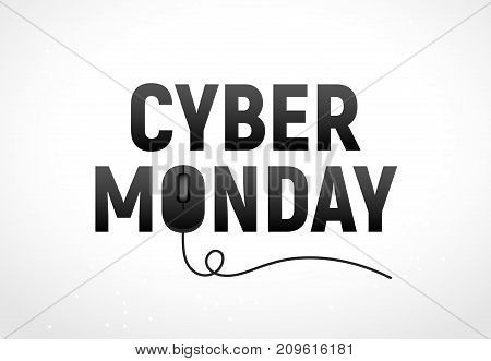 Cyber monday sale vector illustration. Cyber monday advertisign with mouse. Online sale backgrund design.