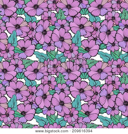 Seamless Pattern With Colorful Flowers And Leaves, Soft And Romantic Background
