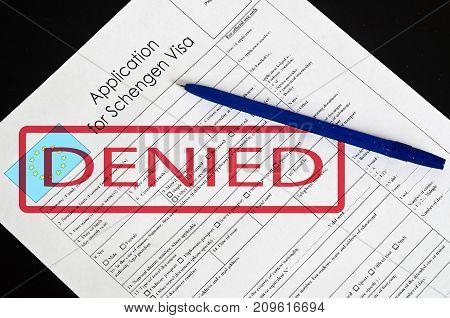 Paper Blank Form Schengen Visa With The Stamp Denied