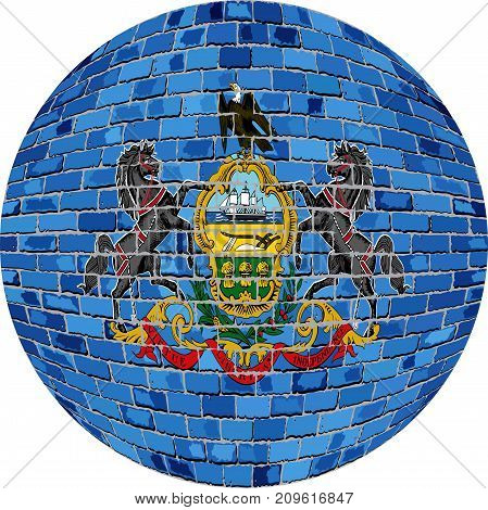 Ball with Pennsylvania flag in brick style - Illustration