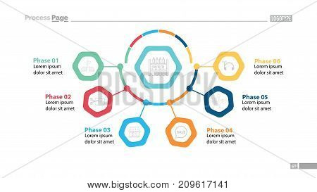 Business chart with six phases template. Business data. Graph, chart, design. Creative concept for infographic, report. Can be used for topics like consumerism, shopping, marketing