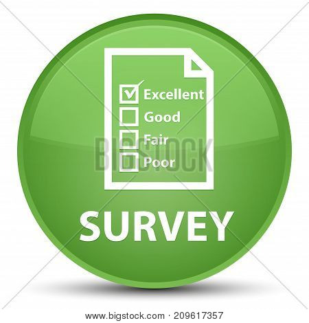 Survey (questionnaire Icon) Special Soft Green Round Button