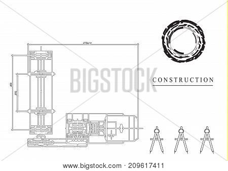black drawing on a white background, engineering
