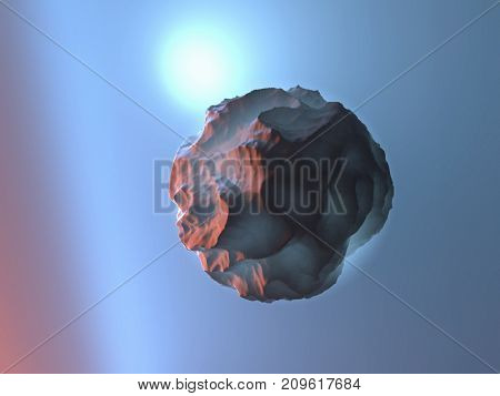 spherical object in the gas layer, 3d illustration