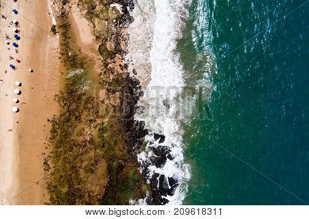 Top View of Waves Crushing