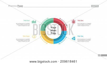 Circle diagram with four elements slide template. Business data. Graph, diagram. Creative concept for infographic, presentation, report. Can be used for topics like review, project, efficiency