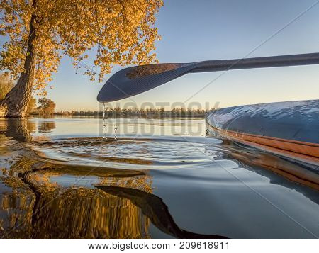 Stand up paddleboard with a carbon fiber paddle on a lake with fall colors - low angle view