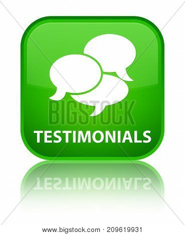 Testimonials (comments Icon) Special Green Square Button