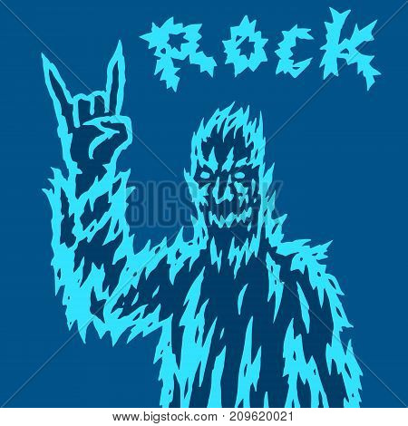 Scary monster shows the horn's gesture. Vector illustration. Genre of horror. Terrible rock'n'roll character.
