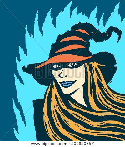 Cute redhead witch. Vector illustration. Blue background.