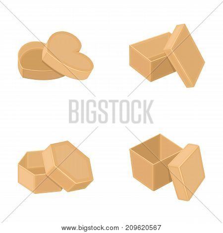 Box, container, package, and other  icon in cartoon style.Case, shell, framework icons in set collection