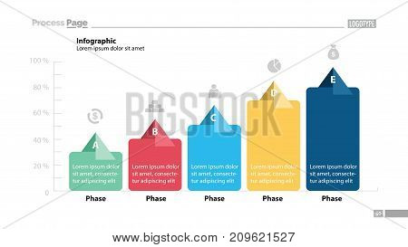 Five phase process chart template design. Element of chart, graph, diagram. Concept for presentation, annual report, infographic. Can be used for topics like business, strategy, development
